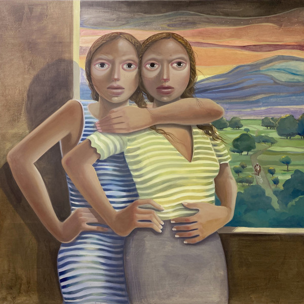 Las Hermanas Cibaeñas, oil on wood, 48 x 48 inches, 2020